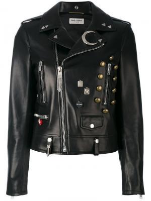 Декорированная кожаная куртка Saint Laurent. Цвет: чёрный