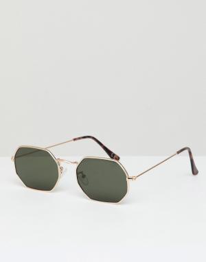 Солнцезащитные очки в золотистой шестиугольной оправе -Золотой Jeepers Peepers