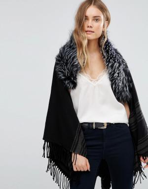 Темно-серое пальто в полоску с меховой отделкой Jayley. Цвет: серый