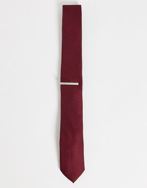 Бордовый галстук с зажимом -Красный Topman