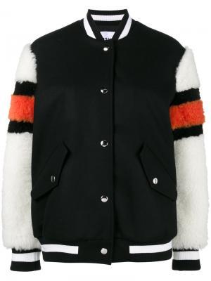 Куртка-бомбер с рукавами из цигейки MSGM. Цвет: черный
