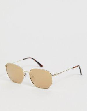Круглые солнцезащитные очки CK19102S-Золотой Calvin Klein