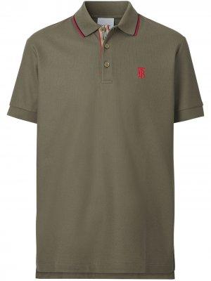Рубашка поло с монограммой Burberry. Цвет: зеленый