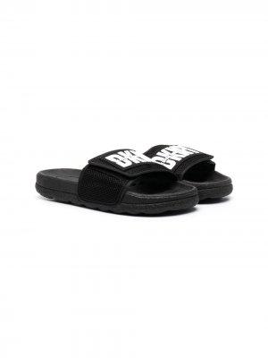 Шлепанцы на липучках с логотипом Dkny Kids. Цвет: черный