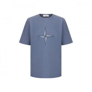 Хлопковая футболка Stone Island. Цвет: синий
