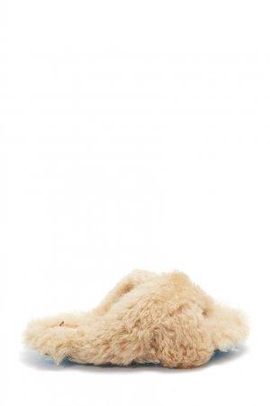 Шлепанцы из бежевой шерсти Off-white. Цвет: бежевый