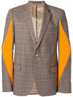 Клетчатый пиджак с контрастными вставками Walter Van Beirendonck. Цвет: коричневый