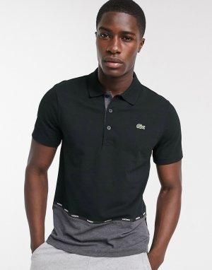 Черная футболка-поло с логотипом на канте -Черный Lacoste
