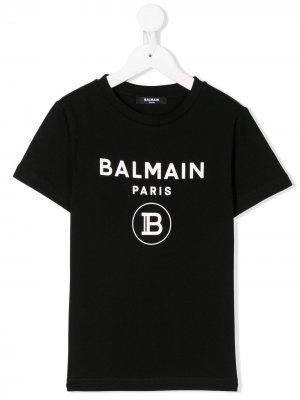 Футболка с короткими рукавами и логотипом Balmain Kids. Цвет: черный
