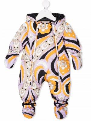 Дутый комбинезон для новорожденного с графичным принтом Emilio Pucci Junior. Цвет: фиолетовый