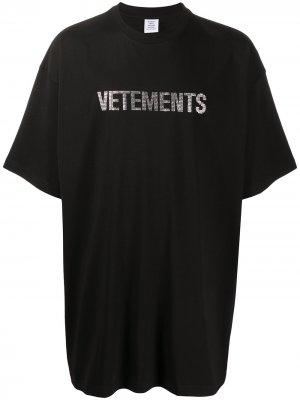 Футболка оверсайз с логотипом Vetements. Цвет: черный