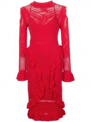 Платье миди Sivan в технике кроше Alexis. Цвет: красный