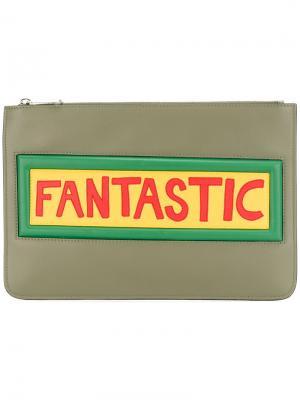 Клатч с аппликацией Fendi. Цвет: серый