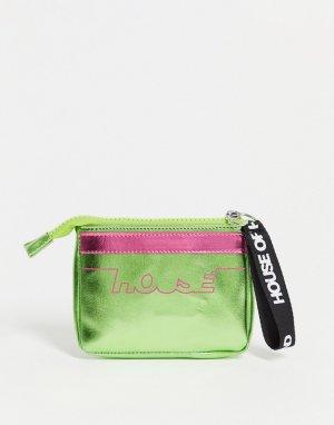 Розово-зеленый кошелек с отделом для кредитных карт и эффектом металлик -Multi House of Holland
