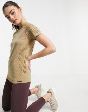 Бесшовная футболка цвета античный бронзовый меланж CI-Коричневый цвет Hummel