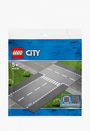 Элементы LEGO City 60236 Прямой и Т-образный перекрёсток. Цвет: серый