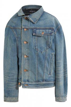 Голубая асимметричная куртка из денима Balenciaga. Цвет: голубой