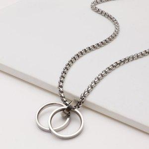 Мужское ожерелье с кольцом SHEIN. Цвет: серебряные