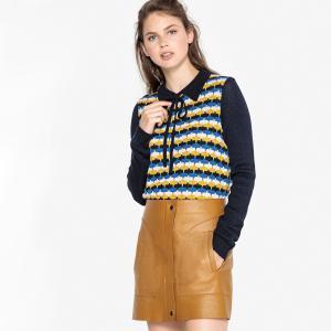 Пуловер с закругленным отложным воротником из жаккардового трикотажа LA REDOUTE COLLECTIONS. Цвет: синий