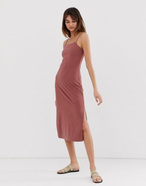 Розовое платье-комбинация на бретелях -Коричневый Monki