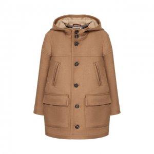 Шерстяное пальто Brunello Cucinelli. Цвет: бежевый