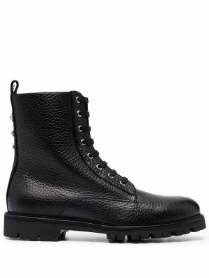 Ботинки в стиле милитари на шнуровке Philipp Plein. Цвет: черный