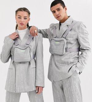 Жаккардовый пиджак унисекс со съемной сумкой COLLUSION-Серый Collusion
