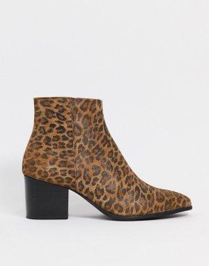 Ботинки челси на каблуке с леопардовым принтом -Коричневый ASOS DESIGN