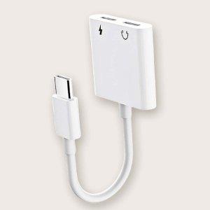 2 в 1 Адаптер кабеля передачи данных Type-C SHEIN. Цвет: белый