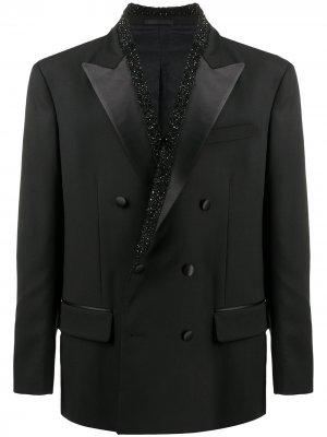 Двубортный пиджак с кристаллами Versace. Цвет: черный