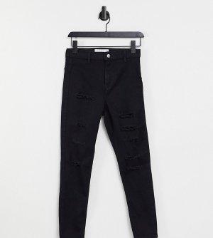 Черные джинсы скинни со рваным дизайном Joni-Синий Topshop Petite