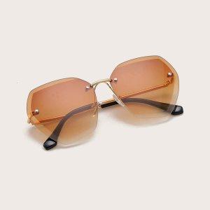 Солнечные очки без оправы с футляром для девочек SHEIN. Цвет: коричневые
