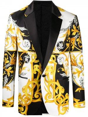 Пиджак с принтом Barocco Acanthus Versace. Цвет: белый