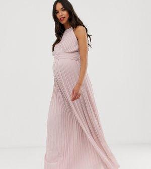Серо-коричневое плиссированное платье макси эксклюзивно от TFNC Maternity