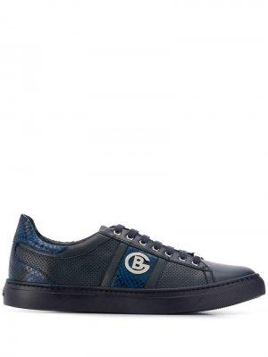 Туфли со вставками под кожу змеи Baldinini. Цвет: синий