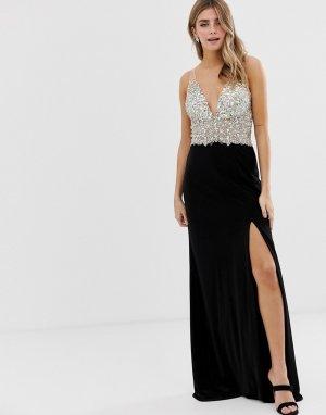 Платье макси на лямках с отделкой лифа и разрезом сбоку -Черный Jovani