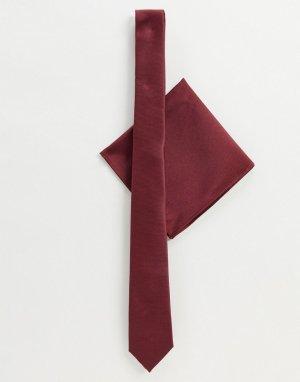 Узкий атласный галстук и платок для пиджака -Красный ASOS DESIGN