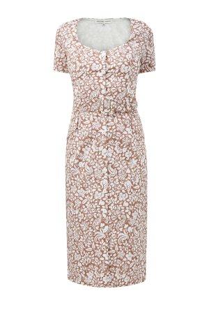 Платье-футляр из хлопкового поплина с кожаным ремнем ALEXANDER TEREKHOV. Цвет: мульти