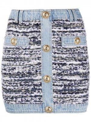Твидовая юбка мини Balmain. Цвет: синий