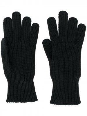Вязаные перчатки с нашивкой-логотипом Moncler. Цвет: черный