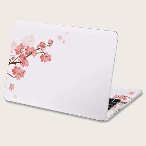 2шт Наклейка для ноутбука с цветочным рисунком SHEIN. Цвет: многоцветный