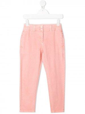Узкие брюки средней посадки Stella McCartney Kids. Цвет: розовый