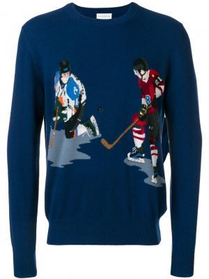 Свитер вязки интарсия Ice Hockey Ballantyne. Цвет: синий