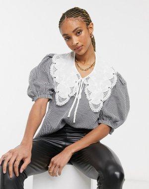 Клетчатая блузка с объемными рукавами и большим воротником -Многоцветный Object