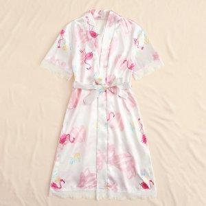 Атласный халат с поясом, кружевом и принтом фламинго для девочек SHEIN. Цвет: белые