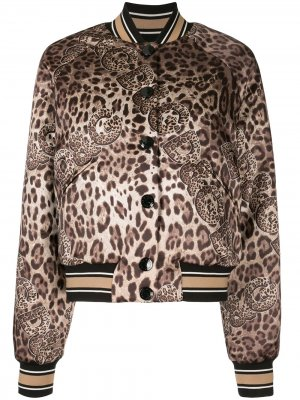 Бомбер с леопардовым принтом Dolce & Gabbana. Цвет: коричневый