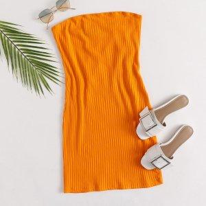 Неоновое оранжевое вязаное платье без бретелек SHEIN. Цвет: оранжевые