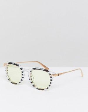 Круглые солнцезащитные очки в полоску CK18701S-Белый Calvin Klein