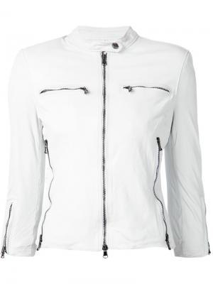 Классическая кожаная куртка R13. Цвет: белый