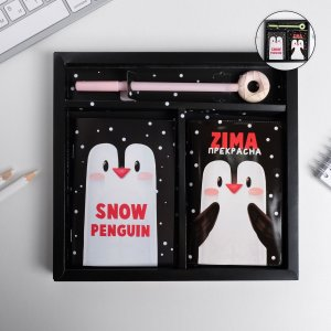 Набор обложка для паспорта полноцвет, блокнот прикол и ручка zima прекрасна ArtFox